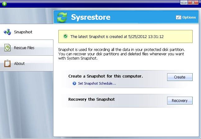 Sysrestore Pro Screenshot 1