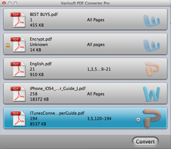 Variisoft PDF Converter Pro for Mac Screenshot