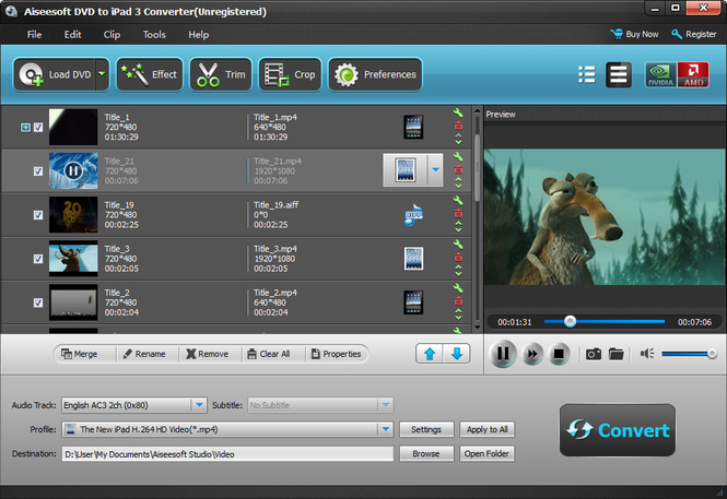 Aiseesoft DVD to iPad 3 Converter Screenshot