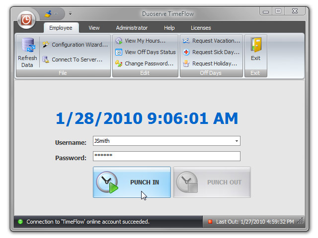 TimeFlow Online Time Clock Software Screenshot