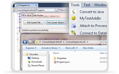 CodePorting C#2Java Visual Studio Addin Screenshot