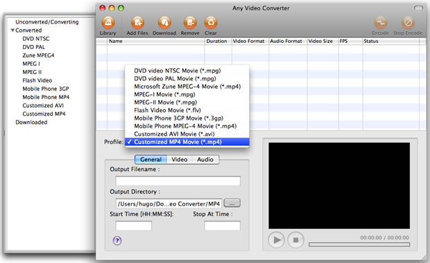 Any Video Converter Free for Mac Screenshot