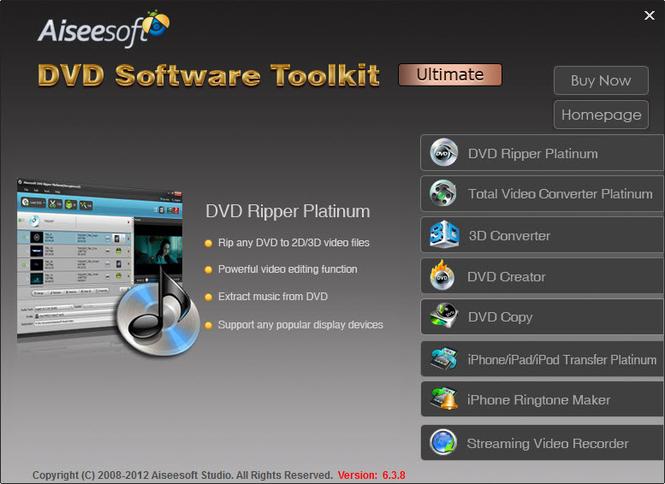 Aiseesoft DVD Software Toolkit Ultimate Screenshot