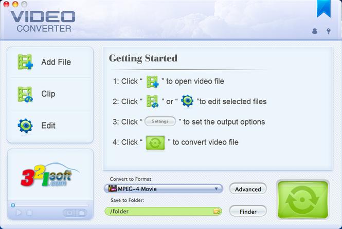 321Soft Video Converter for Mac Screenshot 1