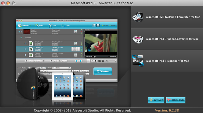 Aiseesoft iPad 3 Converter Suite for Mac Screenshot