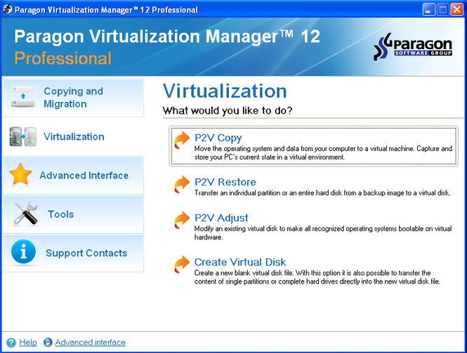 Paragon Virtualization Manager Professional Screenshot
