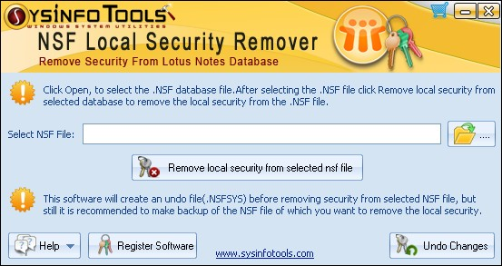 SysInfoTools NSF Local Security Remover Screenshot
