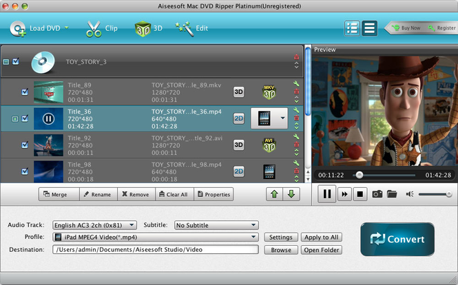 Aiseesoft Mac DVD Ripper Platinum Screenshot