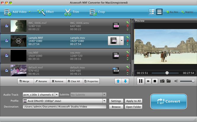 Aiseesoft MXF Converter for Mac Screenshot 1