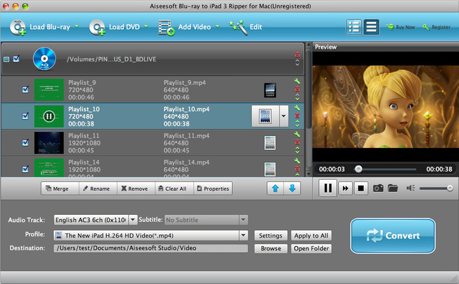 Aiseesoft Mac Blu-ray to iPad 3 Ripper Screenshot