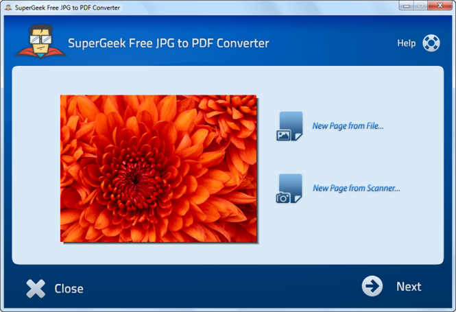 SuperGeek Free JPG to PDF Converter Screenshot