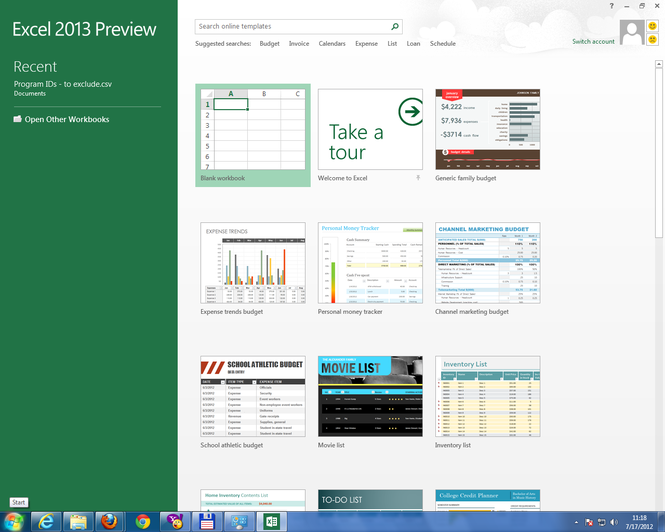 Microsoft Office 2013 Home Premium Preview Screenshot 2