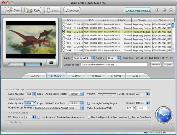 WinX DVD Ripper Mac Free Screenshot 1
