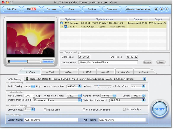 MacX iPhone Video Converter Screenshot 1