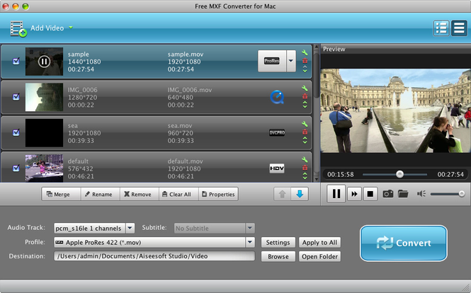 Aiseesoft Free MXF Converter for Mac Screenshot