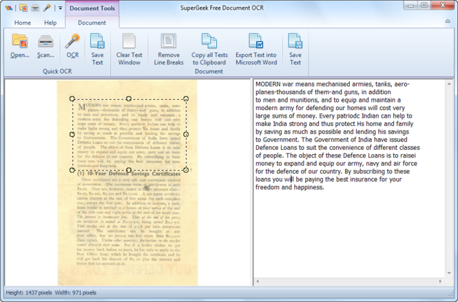 SuperGeek Free Document OCR Screenshot