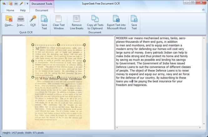 SuperGeek Free Document OCR Screenshot