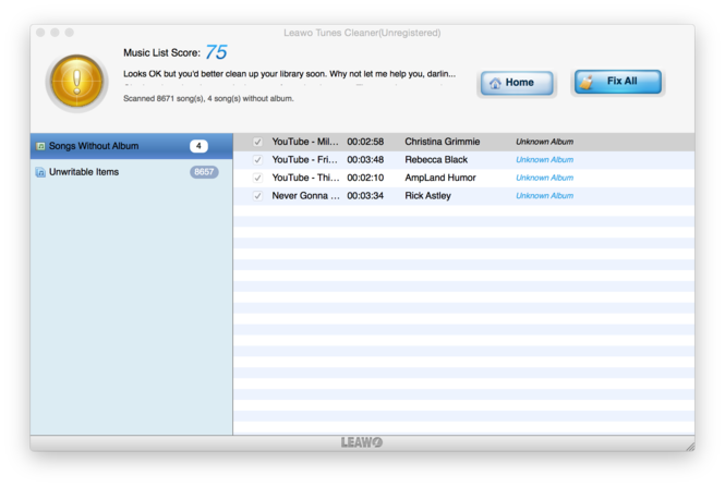 Leawo Tunes Cleaner for Mac Screenshot 7
