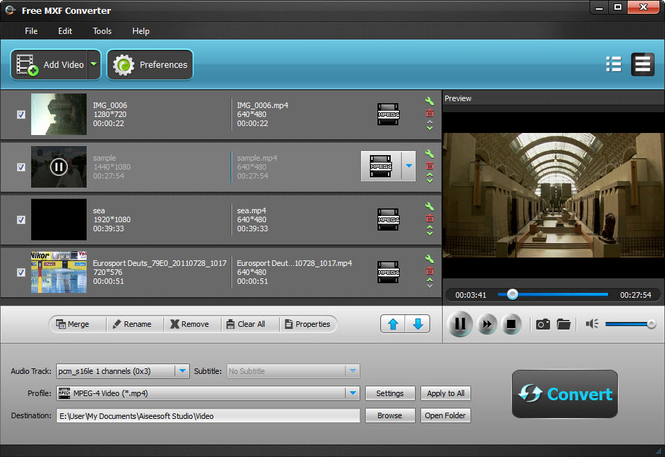 Aiseesoft Free MXF Converter Screenshot 1