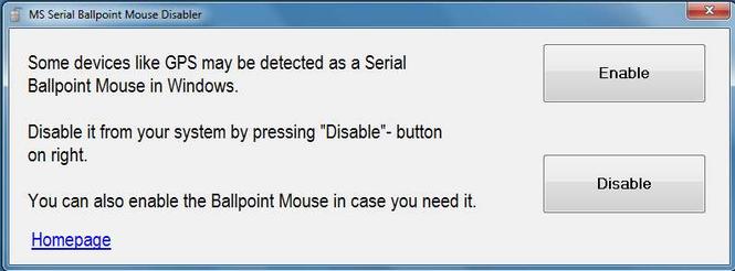 MS Serial BallPoint Mouse Disabler Screenshot 1