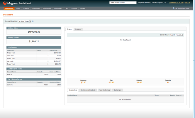 Magento Screenshot 1