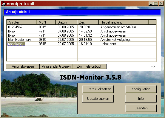 ISDN-Monitor Screenshot