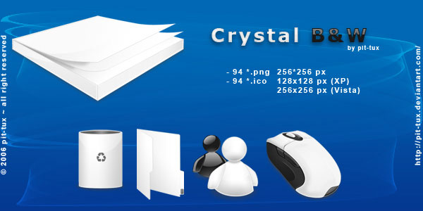 Crystal B and W Icon-Pack Screenshot