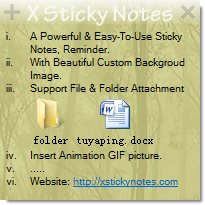 X Sticky Notes Screenshot