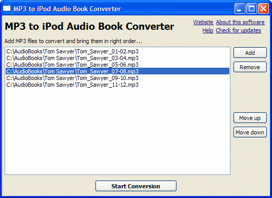 MP3 to iPod/iPhone Audio Book Converter Screenshot