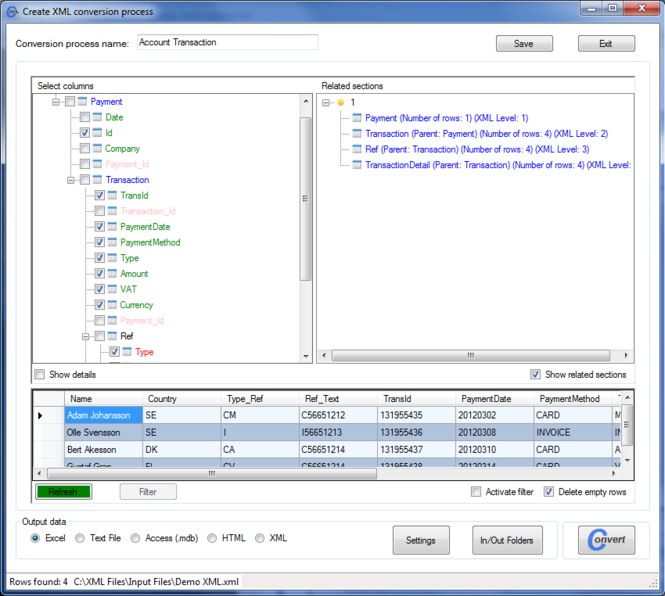 Easy XML Converter Screenshot