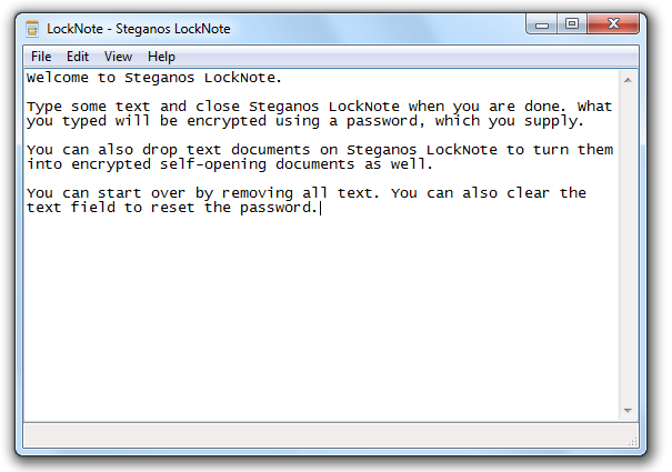 Steganos LockNote Screenshot