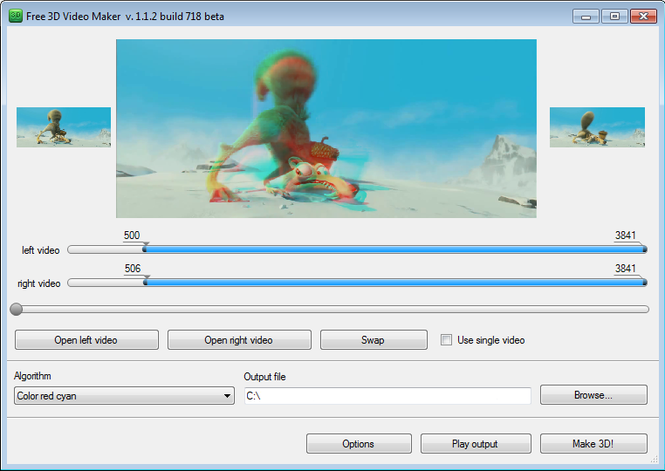 Free 3D Video Maker Screenshot 1