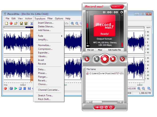 iRecordMax Sound Recorder 2012 Screenshot