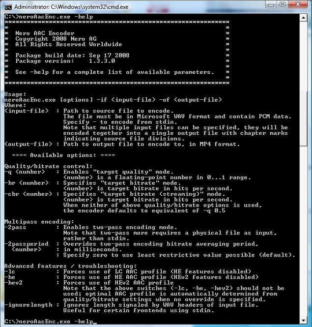 Nero AAC Codec Screenshot 1