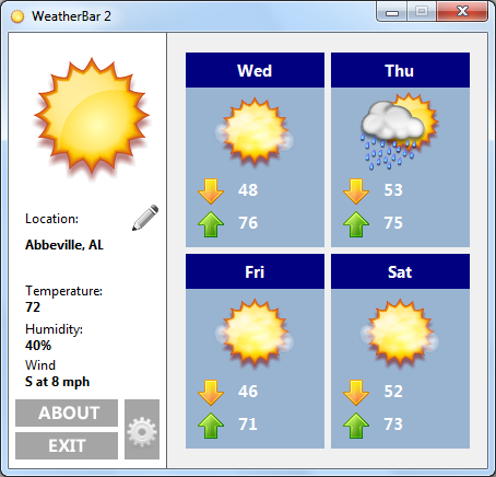 WeatherBar Screenshot