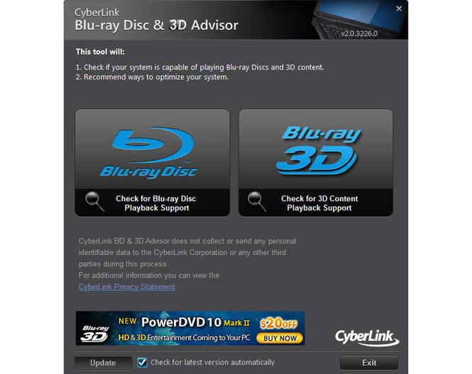 CyberLink BD & 3D Advisor Screenshot