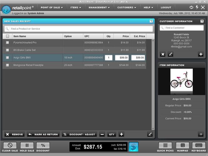 RetailPoint Cloud Point of Sale Screenshot 1