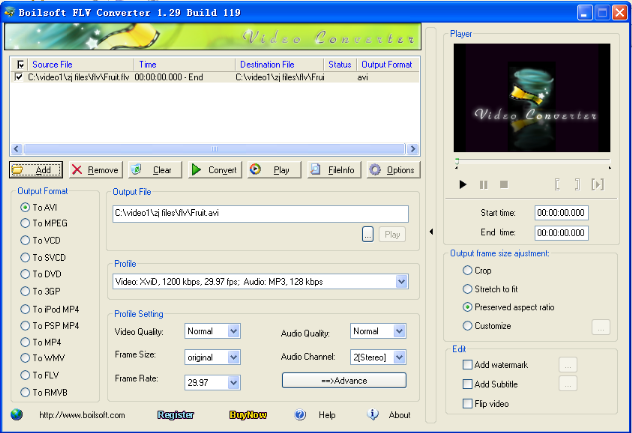 Boilsoft FLV Converter Screenshot