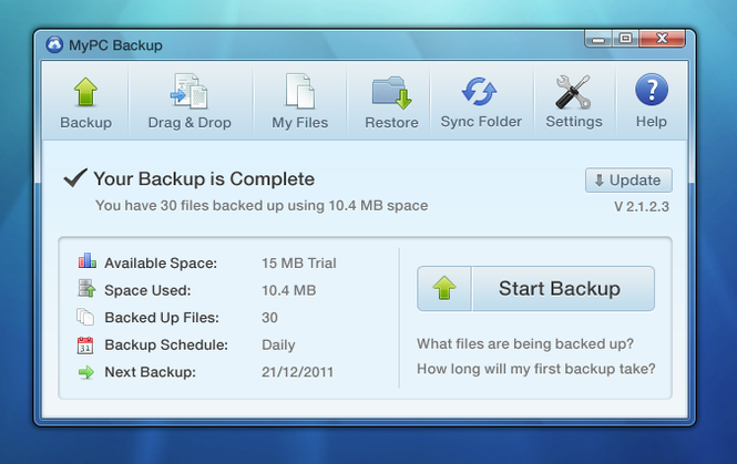 MyPC Backup Screenshot