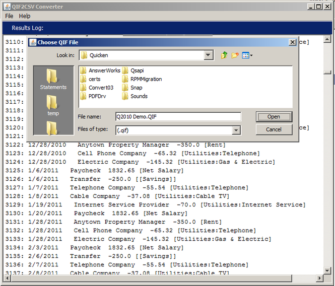 QIF2CSV Converter Screenshot