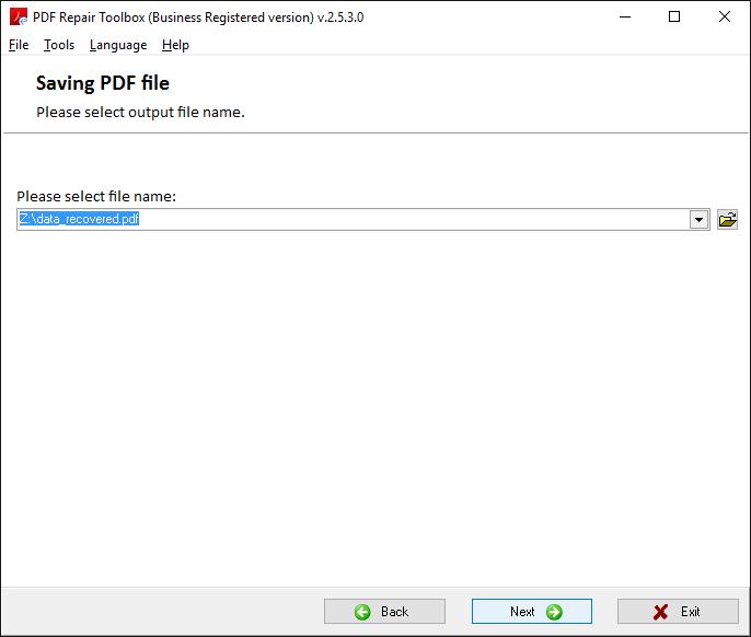 PDF Repair Toolbox Screenshot 3