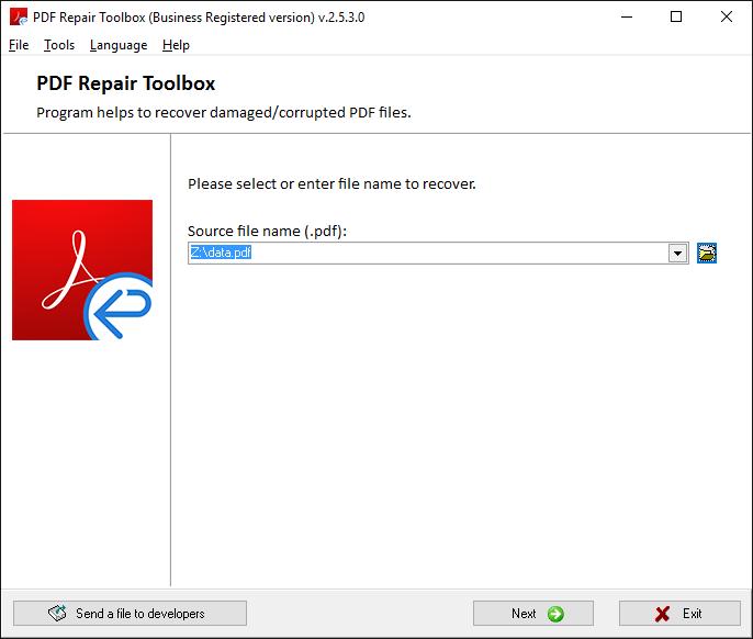PDF Repair Toolbox Screenshot 2