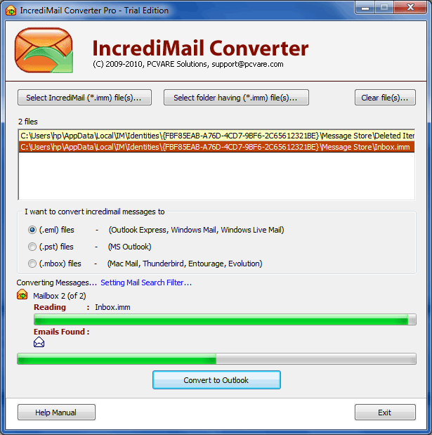 IncrediMail Email Export Tool Screenshot