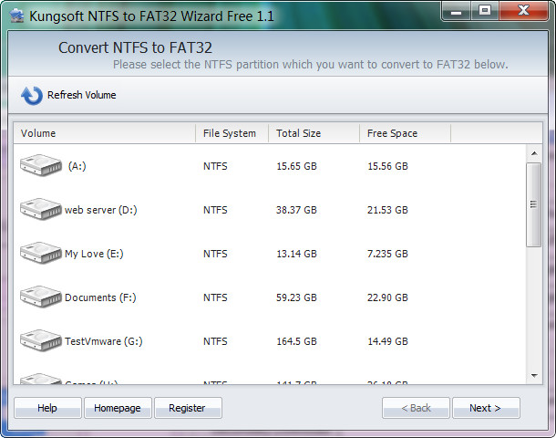 NTFS to FAT32 Wizard Screenshot 1