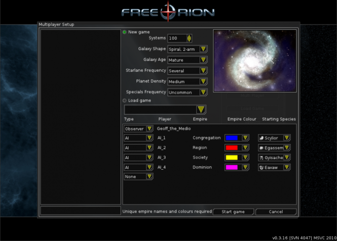 FreeOrion Screenshot 2