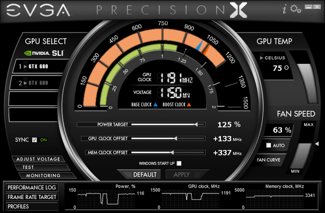 EVGA Precision X Screenshot 1