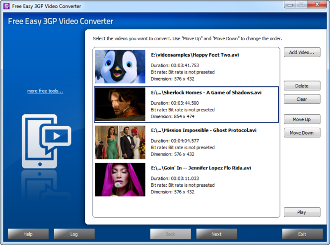 Free Easy 3GP Video Converter Screenshot 1