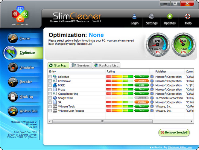 SlimCleaner Screenshot