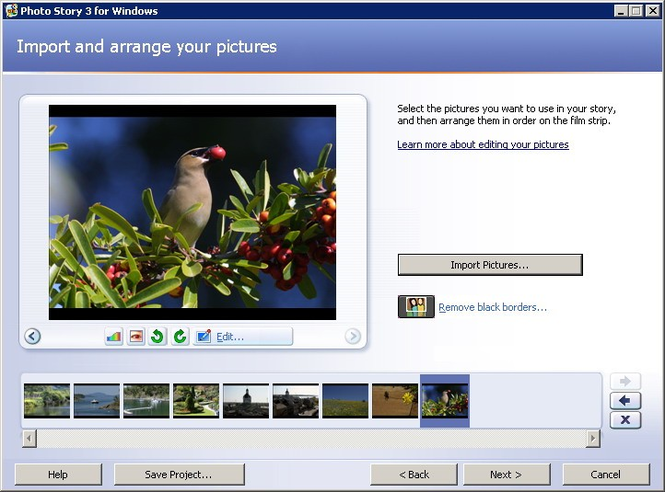 Microsoft Photo Story Screenshot