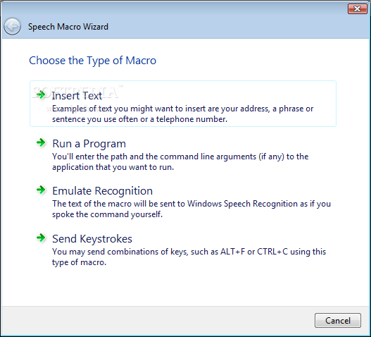 Windows Speech Recognition Macros Screenshot